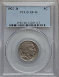 Buffalo Nickels: , 1920-D 5C XF40 PCGS. PCGS Population (42/585). NGC Census:(18/508). Mintage: 9,418,000. Numismedia Wsl. Price for problem ...