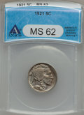 Buffalo Nickels: , 1921 5C MS62 ANACS. NGC Census: (47/501). PCGS Population (36/870).Mintage: 10,663,000. Numismedia Wsl. Price for problem ...
