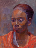 Fine Art - Painting, American:Contemporary   (1950 to present)  , CHRIS BURGESON (American, 20th Century). Julia in Orange,circa 2000. Oil on canvas board. 11-1/4 x 8-1/4 inches (28.6 x...