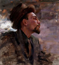 Fine Art - Painting, American:Contemporary   (1950 to present)  , SCOTT PATRICK BURDICK (American, b. 1967). Portrait of a Man ina Hat. Oil on canvas laid on board. 21-1/2 x 19-1/2 inch...
