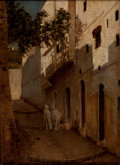 Fine Art - Painting, American:Other , WILLIAM SARTAIN (American, 1843-1924). Street Scene inAlgiers. Oil on canvas . 18-3/4 x 13-3/4 inches (47.6 x 34.9cm)...