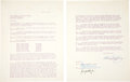 Movie/TV Memorabilia:Documents, Elvis Presley Early Signed 'Motion Picture' Contract, 1956....