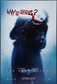 "The Dark Knight (Warner Brothers, 2008). One Sheet (27"" X 40"") DS Advance Style A ""Why So Serious?""..."