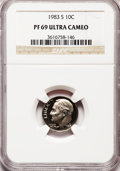 Proof Roosevelt Dimes: , 1983-S 10C PR69 Ultra Cameo NGC. NGC Census: (536/162). PCGSPopulation (2869/153). Numismedia Wsl. Price for problem free...