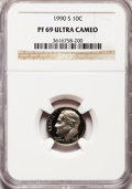 Proof Roosevelt Dimes: , 1990-S 10C PR69 Ultra Cameo NGC. NGC Census: (383/154). PCGSPopulation (3130/257). Numismedia Wsl. Price for problem free...