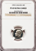 Proof Roosevelt Dimes: , 1993-S 10C Silver PR69 Ultra Cameo NGC. NGC Census: (708/112). PCGSPopulation (2242/130). Numismedia Wsl. Price for probl...