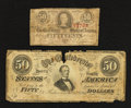 Confederate Notes:1863 Issues, T63 50 Cents 1863;. T66 $50 1864.. ... (Total: 2 notes)