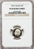 Proof Roosevelt Dimes: , 1993-S 10C Silver PR69 Ultra Cameo NGC. NGC Census: (708/112). PCGS Population (2242/130). Numismedia Wsl. Price for probl...