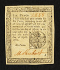 Colonial Notes:Pennsylvania, Pennsylvania April 20, 1781 6d Very Fine-Extremely Fine.. ...