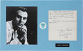 Music Memorabilia:Autographs and Signed Items, Carl Perkins Signed Letter w/Photo and Pick....