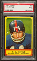 Football Cards:Singles (1960-1969), 1963 Topps Y.A. Tittle #49 PSA Mint 9 - A Pop Three With None Higher Short Print! ...