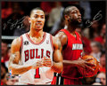 Basketball Collectibles:Photos, Derrick Rose and Dwyane Wade Multi Signed Oversized Photograph....