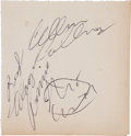 Music Memorabilia:Autographs and Signed Items, Keith Moon, Ronnie Van Zant, and Allen Collins Autographs(1973)....