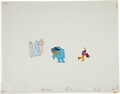 Music Memorabilia:Original Art, Beatles Yellow Submarine Animation Cel Set Up Original Art(United Artists/King Features, 1968).... (Total: 3 Items)
