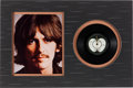 Music Memorabilia:Autographs and Signed Items, George Harrison Autographed 45 Record (UK - Apple 5777, 1969)....