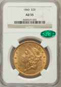 Liberty Double Eagles: , 1860 $20 AU55 NGC. CAC. NGC Census: (134/271). PCGS Population(77/102). Mintage: 577,670. Numismedia Wsl. Price for proble...