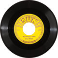 "Music Memorabilia:Recordings, Elvis Presley ""Milkcow Blues Boogie"" 45 (Sun 215, 1955)...."