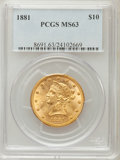Liberty Eagles: , 1881 $10 MS63 PCGS. PCGS Population (258/18). NGC Census: (606/42).Mintage: 3,877,260. Numismedia Wsl. Price for problem f...