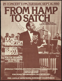 """From Hamp to Satch - A Tribute to Louis Armstrong (Brandeis University, 1980). Concert Poster (30"""" X 40""""). Mus..."""
