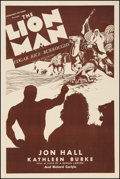 "Movie Posters:Adventure, The Lion Man (Normandy Pictures, R-Late 1930s). One Sheet (28"" X42""). Adventure.. ..."