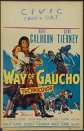 "Movie Posters:Adventure, Way of a Gaucho (20th Century Fox, 1952). Window Card (14"" X 22"").Western. Starring Rory Calhoun, Gene Tierney, Richard Boo..."