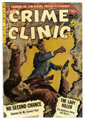 Golden Age (1938-1955):Crime, The Crime Clinic #5 (Ziff-Davis, 1952) Condition: VF. Painted cover by Norman Saunders. Overstreet 2006 VF 8.0 value = $112....