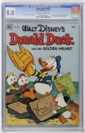 "Golden Age (1938-1955):Funny Animal, Four Color #408 Donald Duck (Dell, 1952) CGC VF 8.0 Off-white towhite pages. Donald Duck and ""The Golden Helmet."" Carl Bark..."