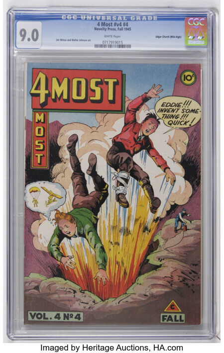 4Most V4#4 Mile High pedigree (Novelty Press, 1945) CGC VF/NM 9.0 White pages. Jim Wilcox and Walter Johnson art. Only CGC-g...