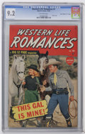 """Golden Age (1938-1955):Western, Western Life Romances #1 Davis Crippen (""""D"""" Copy) pedigree (Marvel, 1949) CGC NM- 9.2 Off-white pages. Whip Wilson and Reno ..."""