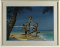 "Boris Vallejo - ""Hawaii Three-O"" Painting Original Art (1988). Boris Vallejo spotlights some fun in the sun wi..."