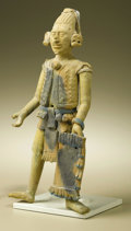 Pre-Columbian:Ceramics, Standing Warrior Holding Rectangular Shield. Maya, Jaina. A.D. 550- 900. Ceramic, traces of paint. Height 9 1/2 in. Width ...