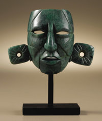 Mosaic Portrait Maskette Maya A.D. 600 - 800 Jadeite, Weight 58 grams Height 2 5/16 in. Width 3 1/16 in.  Among the M