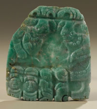Pectoral Depicting Two Enthroned Deities Maya A.D. 700 - 800 Jadeite Height 4 1/4 in. Width 3 7/8 in.  Commentary on
