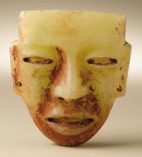 Face Panel Teotihuacan A.D. 300 - 600 Alabaster with red pigment Height 4 3/4 in. Width 3 7/8 in.  A less than life-s