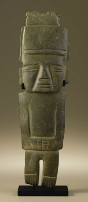 Standing Dignitary with Bird-form Headdress Guerrero 200 B.C. - A.D. 600 Green stone (serpentine?) with traces of red pi...