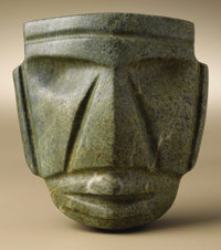 Large Stylized Head Mezcala 300 B.C. - A.D. 300 Green stone Height 4 7/8 in. Width 4 3/8 in.  Within the overall trap