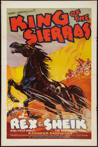 "King of the Sierras (Grand National, 1938). One Sheet (27"" X 41"") Flat Folded, and Lobby Card Set of 8 (11&quo..."