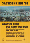"Movie Posters:Sports, Sachsenring Racing Poster (Sachsenring, 1981). German Racing Poster (16"" X 23"") Sports.. ..."