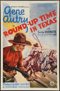 "Round-Up Time in Texas (Republic, 1937). One Sheet (27"" X 41""). Western"