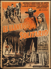 "The Lone Ranger (Guaranteed Pictures de Mexico, 1938). Mexican One Sheet (26.5"" X 37""). Serial"
