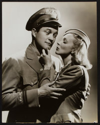 """Dennis Morgan and Virginia Bruce in Flight Angels by George Hurrell (Warner Brothers, 1940). Portrait Photo (10.5""""..."""