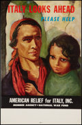 "Movie Posters:War, World War II -- National War Fund (U.S. Government, 1943). Relief Fund Poster (14"" X 21.5"") ""Italy Looks Ahead...Please Help..."