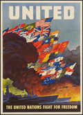 "Movie Posters:War, World War II Propaganda (U.S. Government Printing Office, 1943).OWI Poster No. 79 (20"" X 28"") ""The United Nations Fight for..."