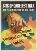 "Movie Posters:War, World War II Propaganda (U.S. Government Printing Office, 1943).OWI Poster (20"" X 28"") ""Bits of Careless Talk."" War.. ..."