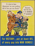 "Movie Posters:War, World War II Propaganda (U.S. Government Printing Office, 1945).War Bond Poster (16.5"" X 22""). ""For Victory...War Bonds."" W..."