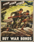 "Movie Posters:War, World War II Propaganda (U.S. Government Printing Office, 1942).War Bond Poster (22"" X 28""). ""Attack...Attack...Attack...."