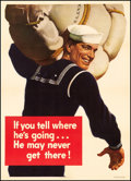 "Movie Posters:War, World War II Propaganda and Other Lot (U.S. Government PrintingOffice, 1943). Poster (20"" X 28"") ""If You Tell Where He's Go...(Total: 2 Items)"