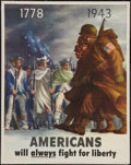 "Movie Posters:War, World War II Propaganda (U.S. Government Printing Office, 1943).OWI Poster No. 26 (22"" X 28"") ""1778-1943; Americans Will Al..."