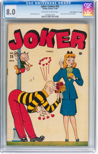 """Joker Comics #25 Davis Crippen (""""D"""" Copy) pedigree (Timely, 1946) CGC VF 8.0 Off-white to white pages"""