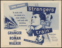 "Strangers on a Train (Warner Brothers, R-1957). Half Sheet (22"" X 28""). Hitchcock"